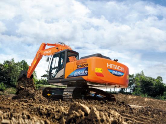 日立ZH200-5A混合动力液压挖掘机施工作业现场