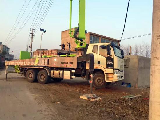 40米4.0泵车在安徽蚌埠乡镇地区高效作业