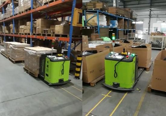 中联重科工业车辆公司TB20V1系列AGV在仓库作业手机实拍