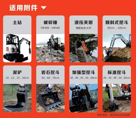 山猫E20可快速换装土钻、挖斗、泥铲等各类属具