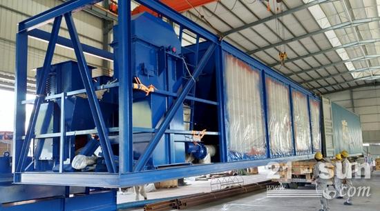 俄罗斯客户定制的海蓝色涂装沥青搅拌设备发货图