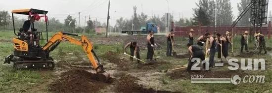 三一微挖与壮汉十八施工比武
