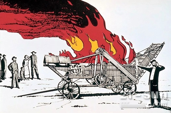 """""""杰罗姆·凯斯""""先生当众一把大火烧毁了机器。"""