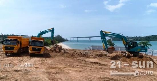 山河智能设备在柬埔寨施工