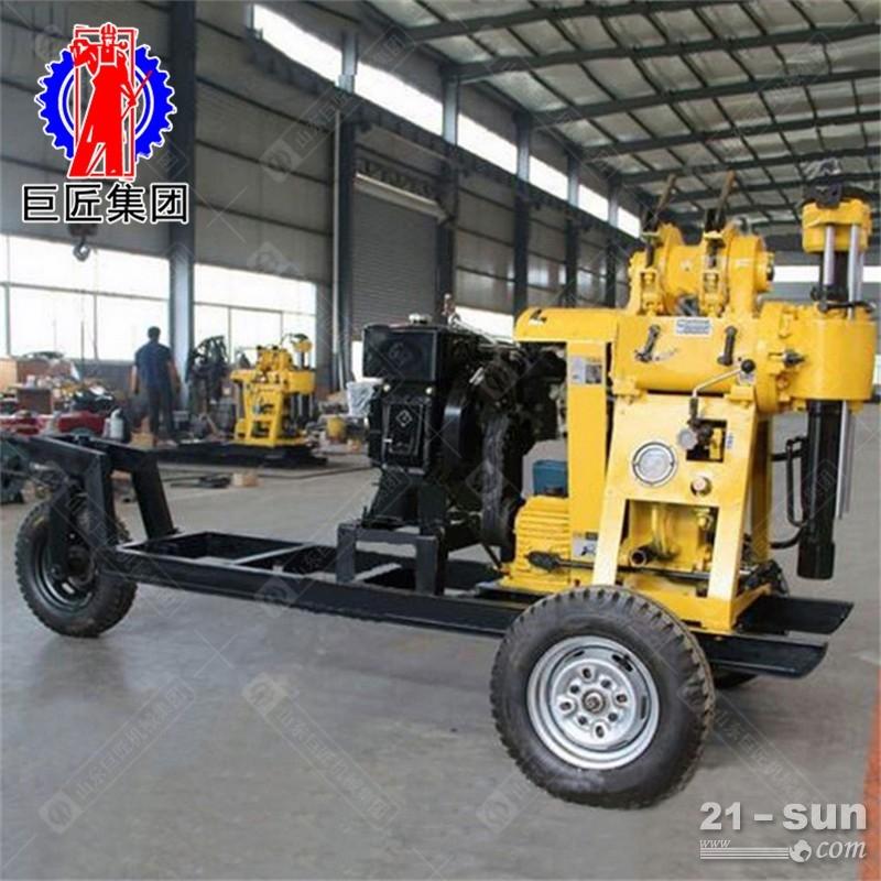 轮式液压水井钻机巨匠牌130米多功能勘探岩心钻机下钻速度快