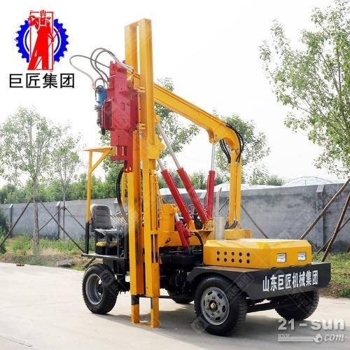 DZL小四轮公路护栏打桩机 小型波形护栏打桩钻孔机 打拔钻一体打桩机