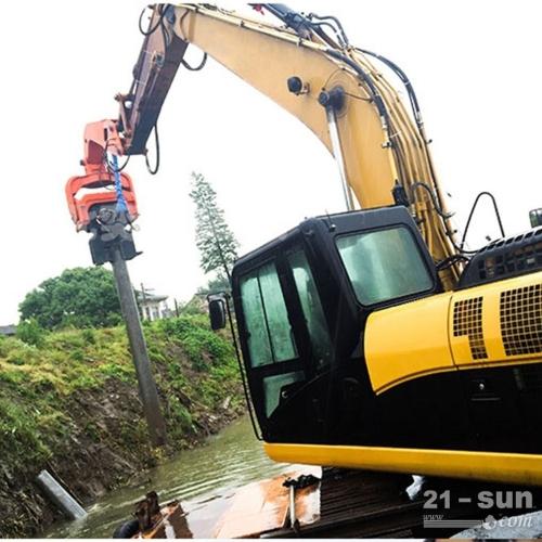 12米钢板桩打夯 挖掘机改装打桩机 液压打桩机械
