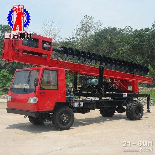 双排座打桩机 山东巨匠12米小型长螺旋打桩机