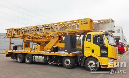 国内最大参数的徐工桁架式桥梁检测车成功下线