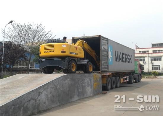 沃尔华集团2台挖掘机出口缅甸