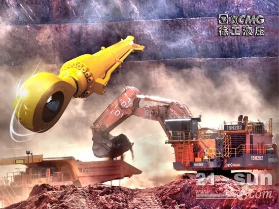 澳大利亚铁矿区徐工挖掘机液压缸累计工作100,000小时图片