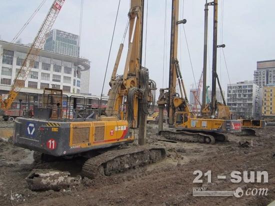 徐工旋挖钻机群在武汉站恒隆广场项目施工中大展身手