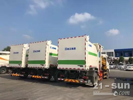 徐工吊装式垃圾车助力中部都会设立建设!图片