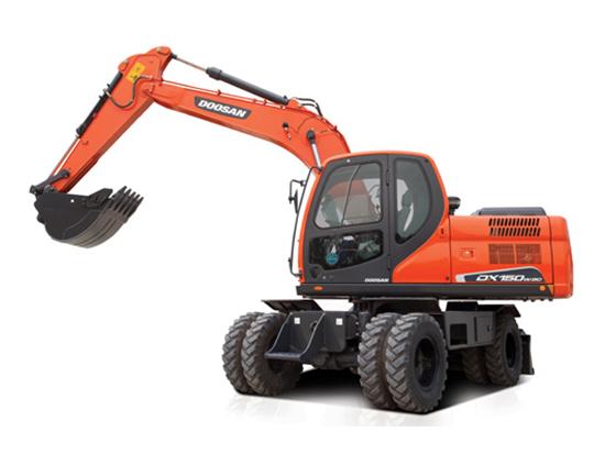 矿山作业高段位机型:斗山DX150W- 9C轮式挖掘机