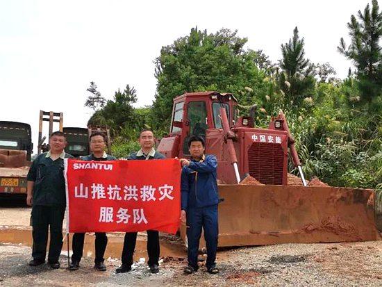 山推设备参与江西鄱阳湖洪水封堵救援