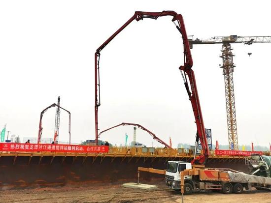 三一红林立!成套三一混凝土设备助力龙潭长江大桥建设