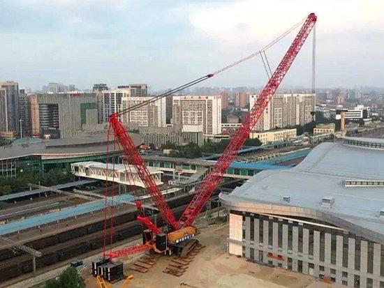 三一SCC20000A圆满首吊!中国铁路史上最大吨位履带起重机吊装作业
