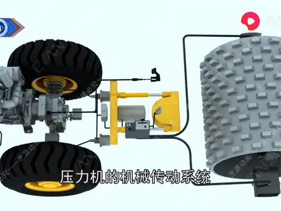 徐工集团压路机机械三维动画演示
