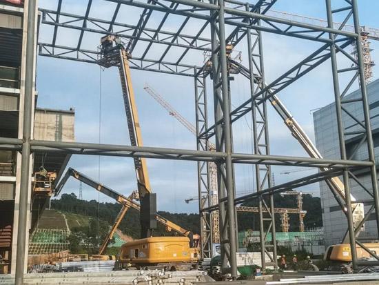 【施工案例】徐工高空作业平台助力物流配送中心样本工程建设!