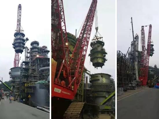 湖南长岭炼化检修项目首吊 超百吨设备平稳就位