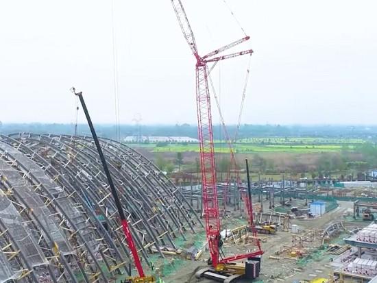 跨度118米!320吨履带吊挑战世界级木结构工程