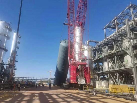陕西180万吨乙二醇项目大件设备吊装工作圆满收官