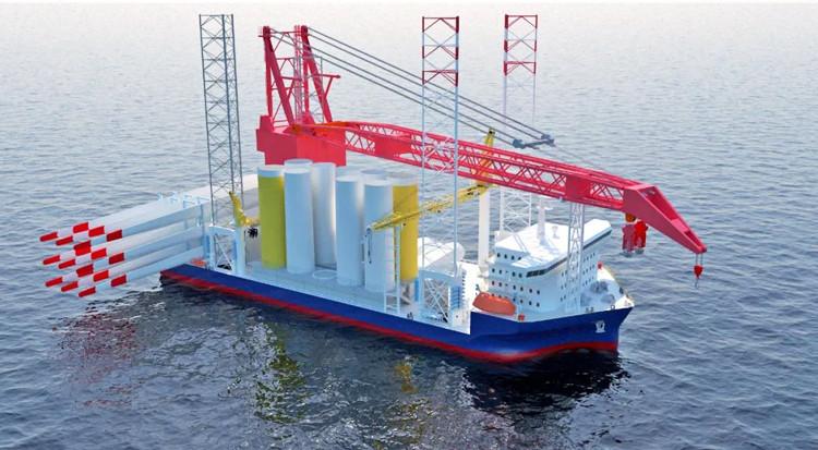 中集来福士中标2200t绕桩式海工风电起重船