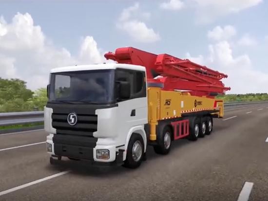 慧盟重工70米長臂架泵車,6分鐘泵送一車混凝土!