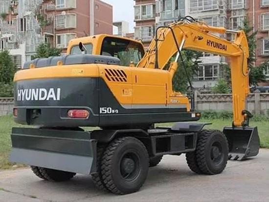 现代R150-9轮式挖掘机前轮转向迟缓