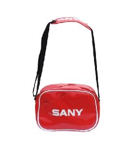 三一漆皮亮面红色休闲挎包