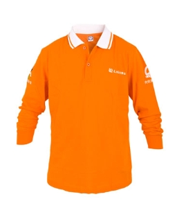 柳工橙色翻领长袖T恤