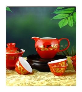 三一功夫茶具红瓷套装
