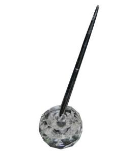 高档水晶台笔-水晶座加印LOGO 圆珠笔