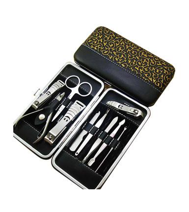 格纹不锈钢修容六件套 企业定制 赠送客户 促销礼品