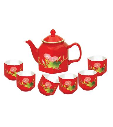 六角红瓷器茶具--牵牛花