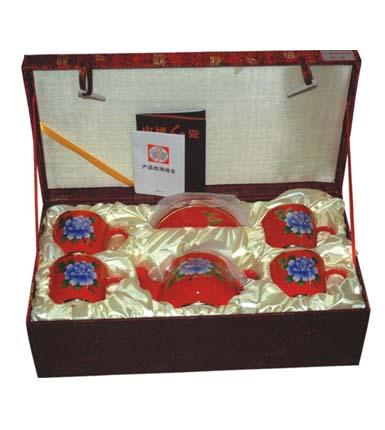 金枝玉叶红瓷器茶具套装