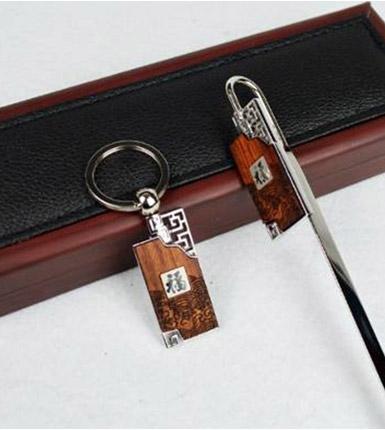 红木镶金属书签钥匙扣