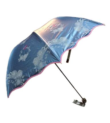 天堂伞 春华绸彩胶三折晴雨伞