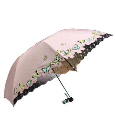 天堂伞 黑涤三折晴雨伞