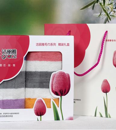 洁丽雅纯棉强吸水割绒面巾 两条装郁金香礼盒