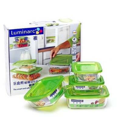 乐美雅--乐宜厨玻璃保鲜盒4件套