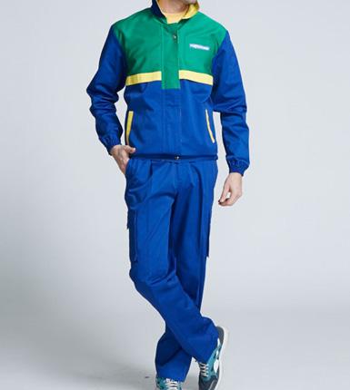 蓝绿色车间男式工作服