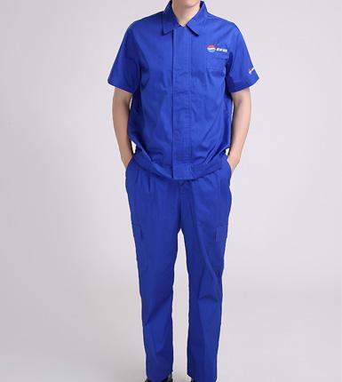 蓝色短袖男式车间工作服