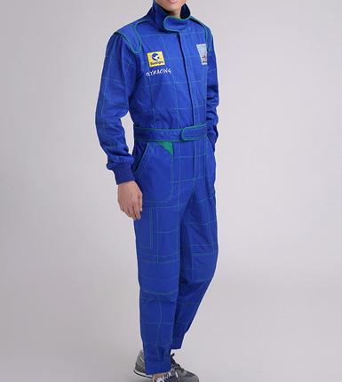 蓝色长袖汽修工作服套装-夏季工程服