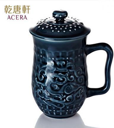 乾唐轩活瓷 势在必得高杯 陶瓷养生茶杯办公水杯子带盖泡茶送礼物