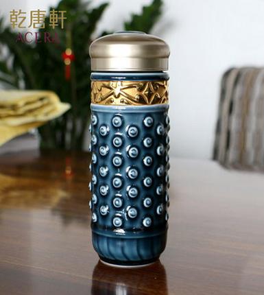 乾唐轩活瓷 鎏金大乾坤随身杯双层 陶瓷水杯子商务礼品送领导礼品