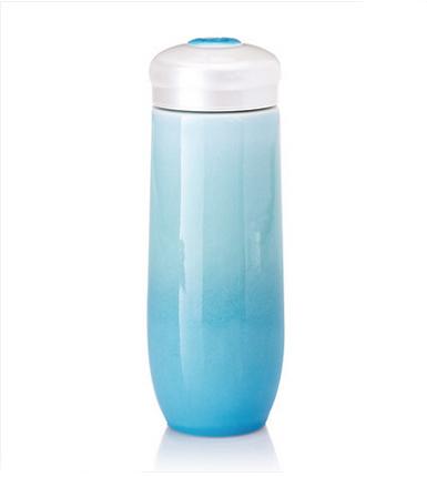 乾唐轩活瓷 大圆融随身杯单层 大容量创意陶瓷水杯子便携带盖防漏