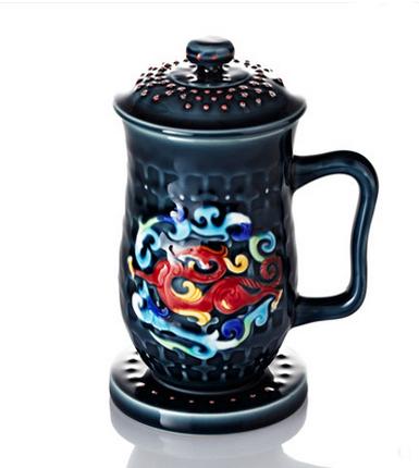 乾唐轩活瓷 彩绘势在必得高杯 陶瓷茶杯办公水杯子带盖商务送礼品