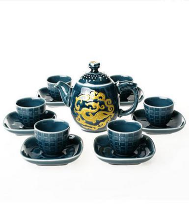 乾唐轩活瓷 鎏金瓷势在必得茶具15件组 陶瓷高档茶壶杯海套装礼品