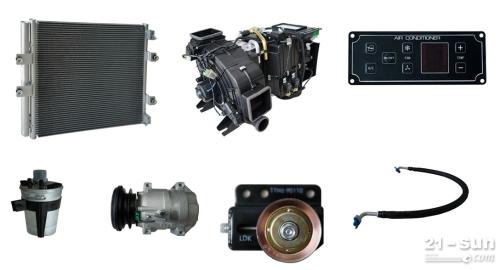 挖掘机空调,冷凝器,蒸发器,压缩机,控制器,管路等